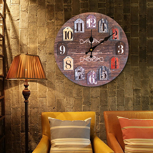 Classics Round Analog Number Wood Wall Clock