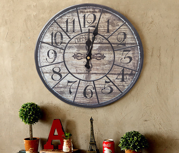 Vintage Analog Wood Round Mute Wall Clock