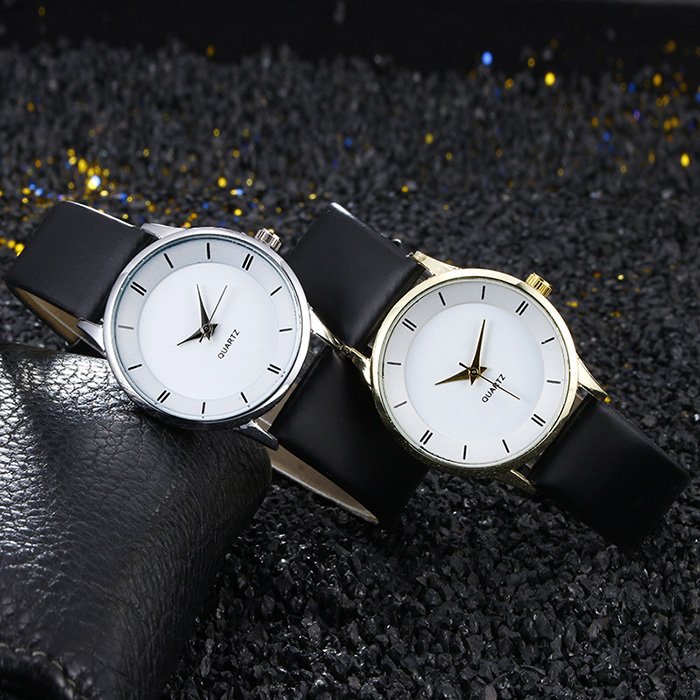 Minimalist Faux Leather Couple Watches