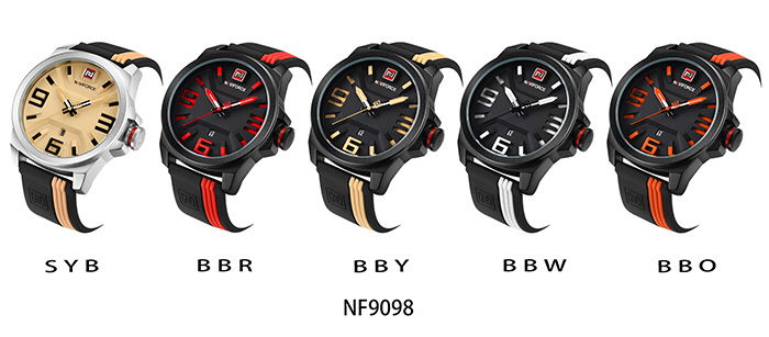 NAVIFORCE 9098 Silicone Strap Luminous Date Watch