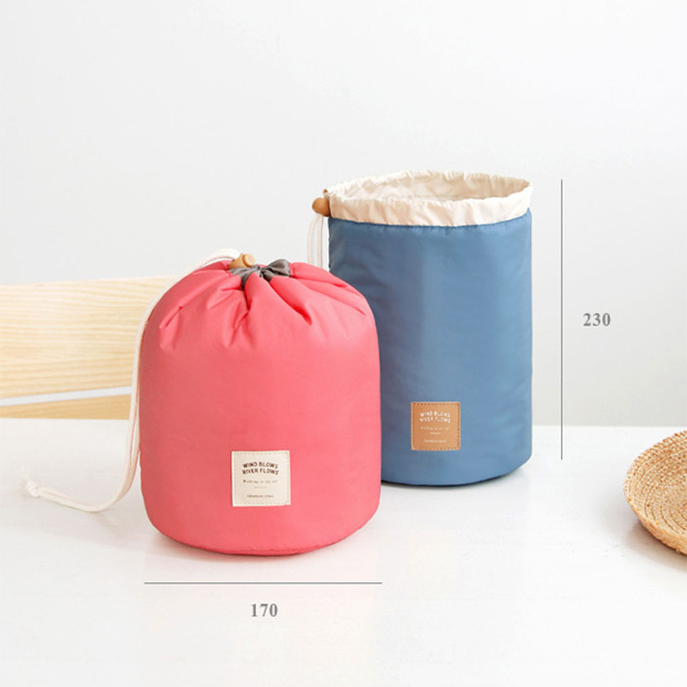Barrel Travel Cosmetics Nylon High Capacity Drum Cord Elegant Organizer Storage Bag