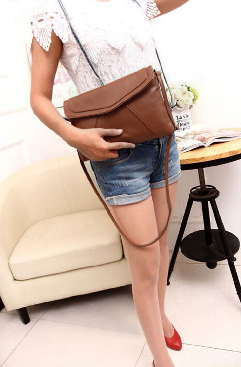 Guapabien Patchwork Magnet Button Shoulder Messenger Envelope Bag for Lady