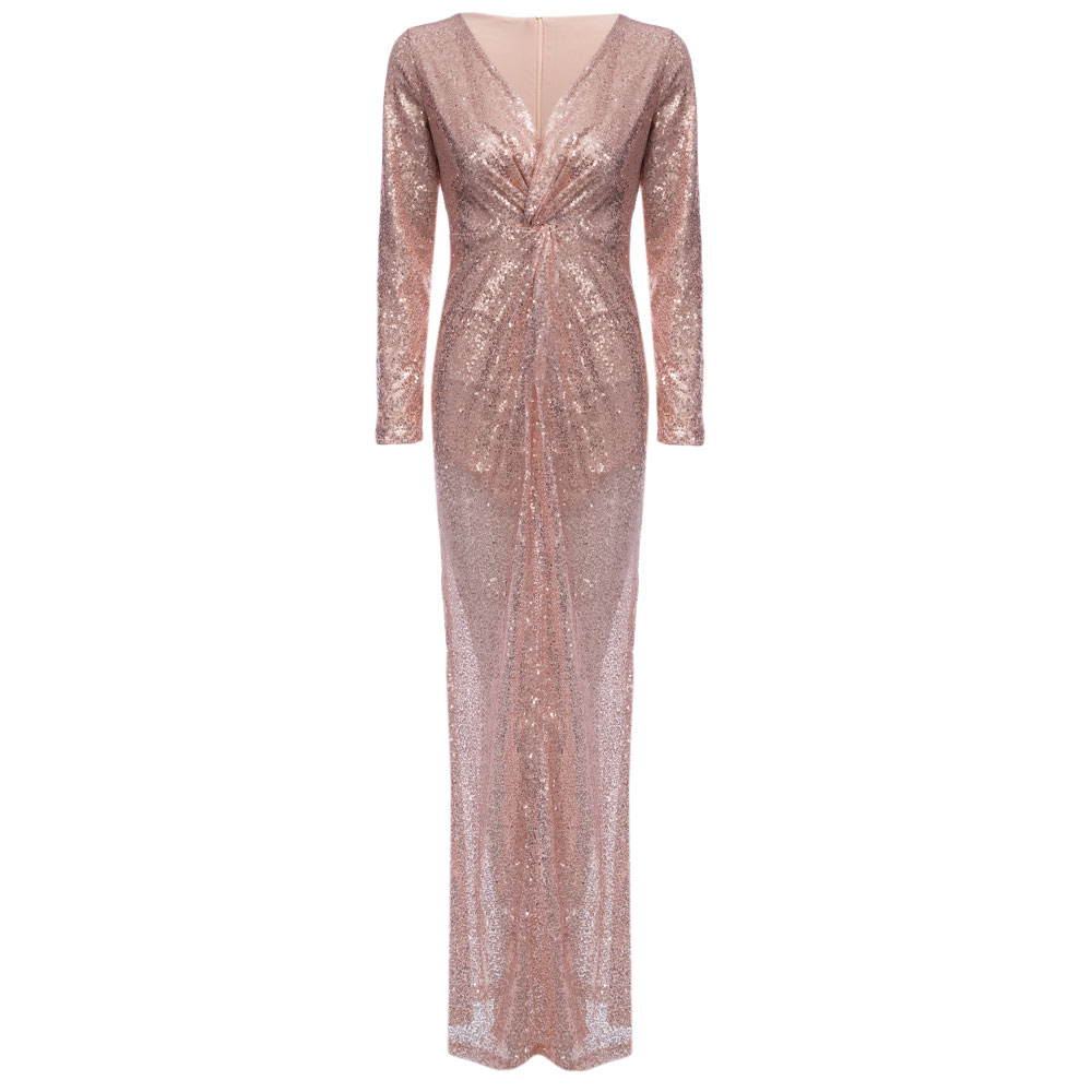 Elegant Plunge Neck Knot Sequin Evening Dress