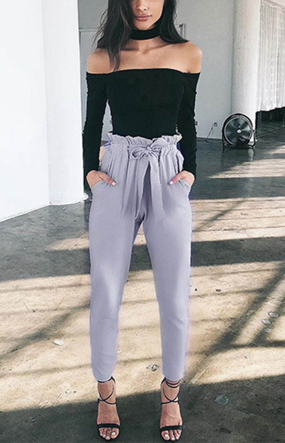 Stylish High Waist Bowtie Design Slim Pure Color Harem Pants with Belt