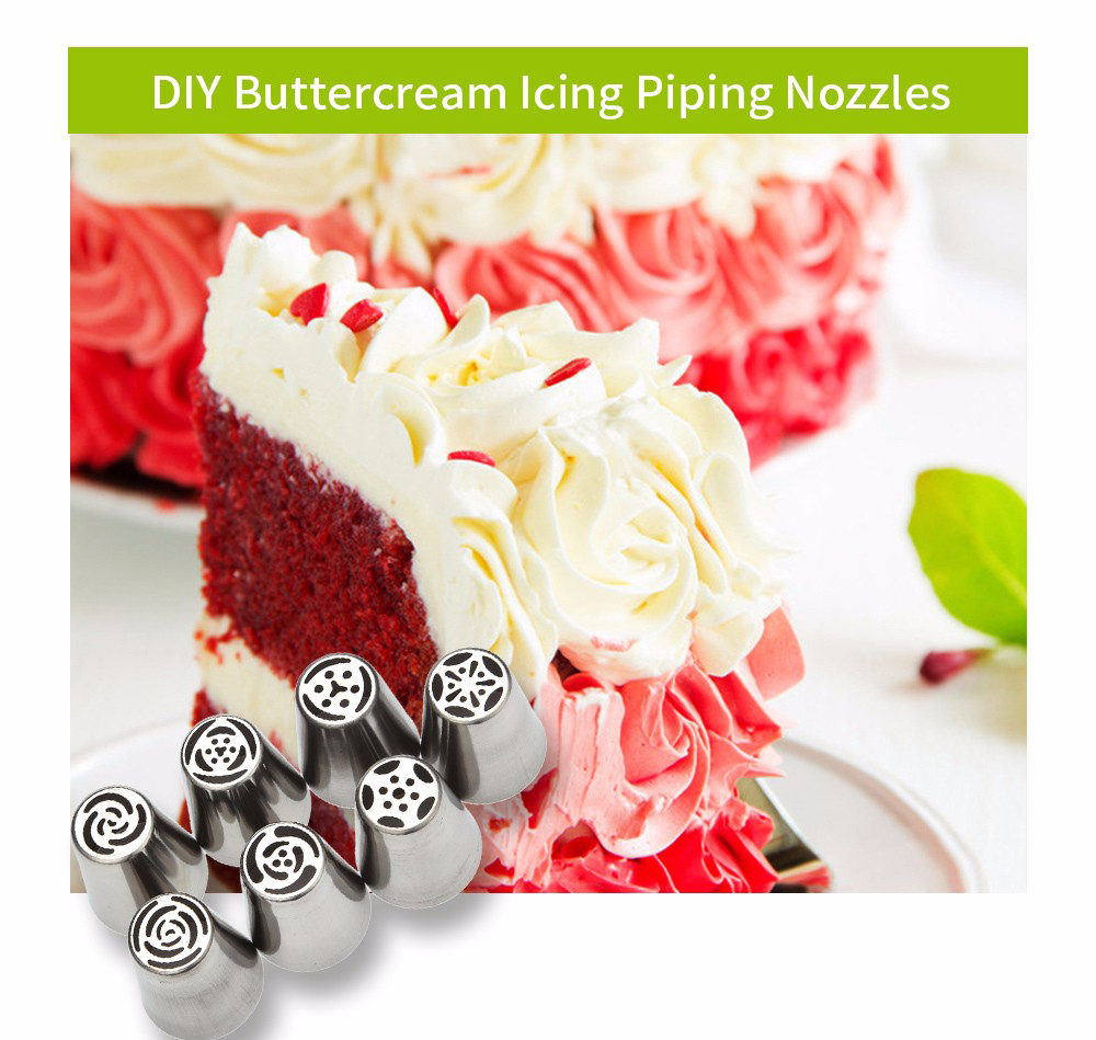 7pcs DIY Stainless Steel Buttercream Icing Piping Nozzles Baking Tools
