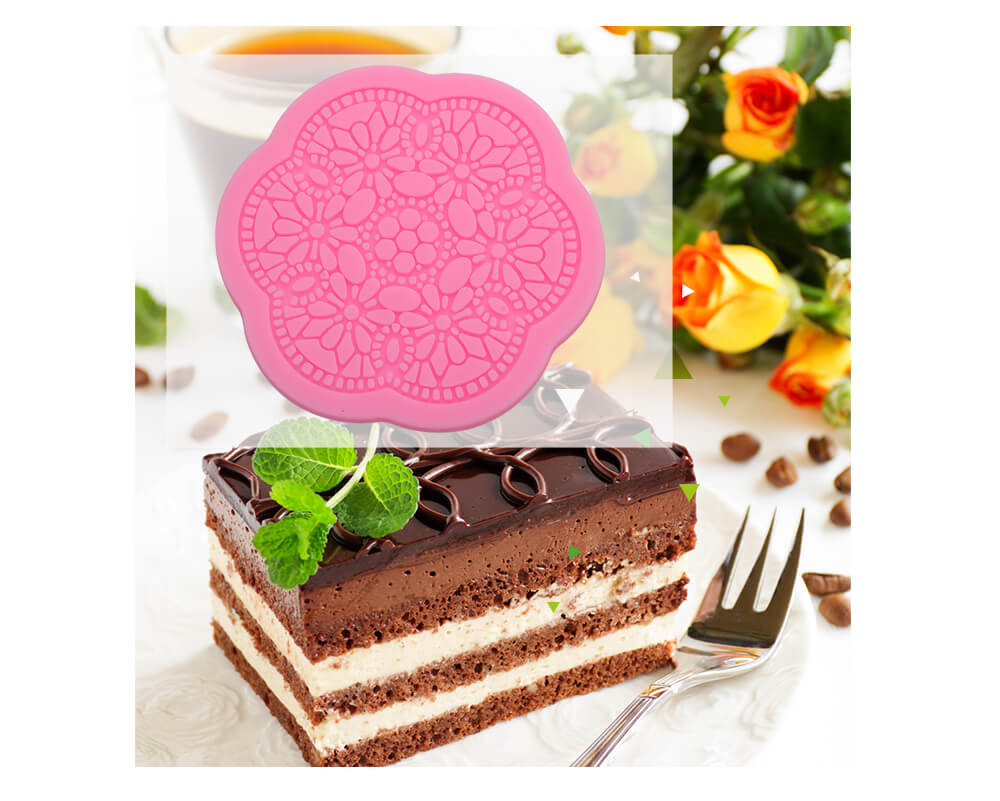 3D Lace Flower Silicone Fondant Cake Decoration Mold