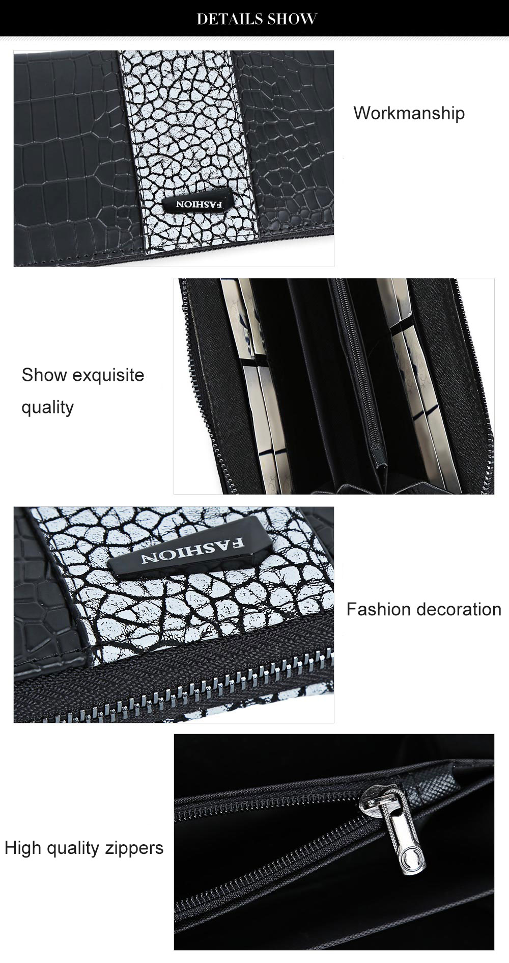 Large Capacity Zipper Crocodile Pattern Women Clutch Wallet