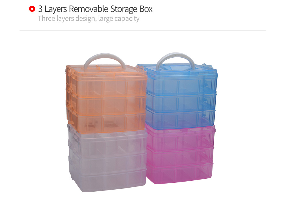 Creative Three Layers Removable Plastic Jewelry Bead Cosmetics Storage Box