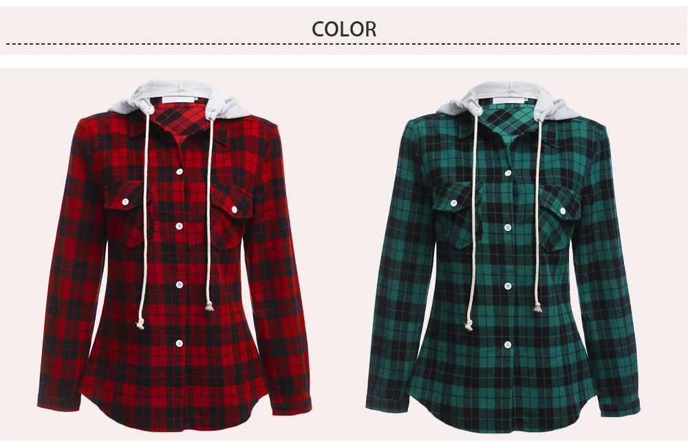 Blouses Shirts Red Long Sleeve Drawstring Hooded Plaid