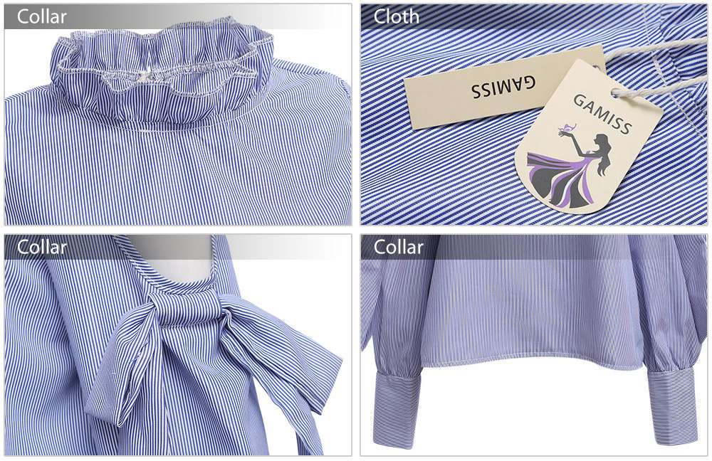 Fashion Stand Collar Cut Out Bow Tie Design Striped Loose Women Blouse