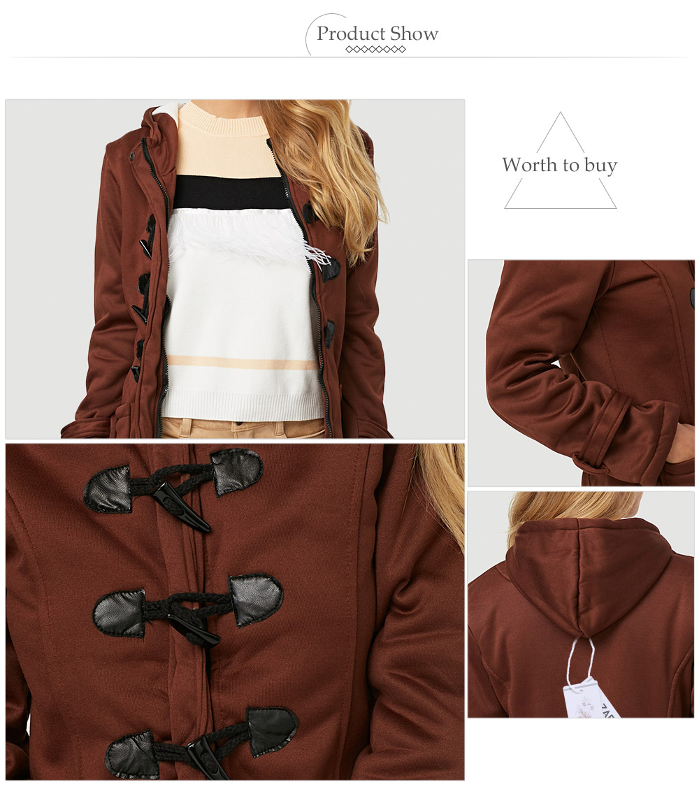Trendy Hooded Long Sleeve Pure Color Button Design Pocket Decoration Women Coat