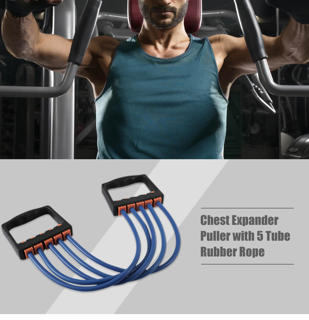 Gymnastic Chest Expander Puller 5 Tube Cable Rubber Yoga Training Rope