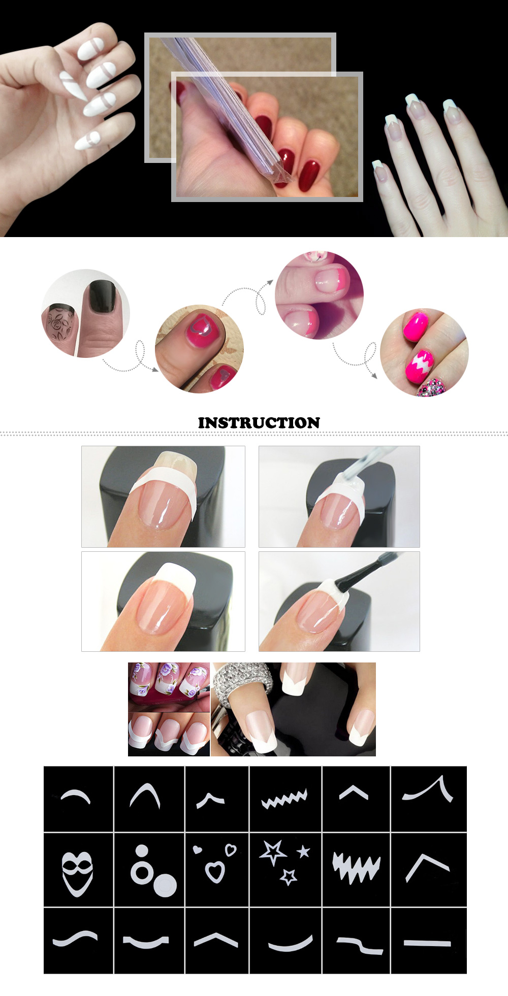 Different Design French Manicure Nail Art Form Fringe Guides Sticker DIY Stencil