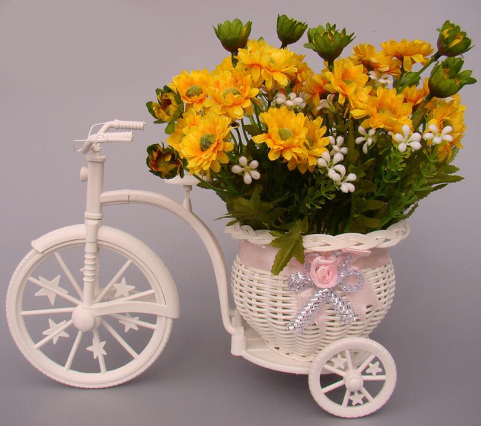 Plastic Tricycle Bike Shape Flower Basket Storage Container Party Decor