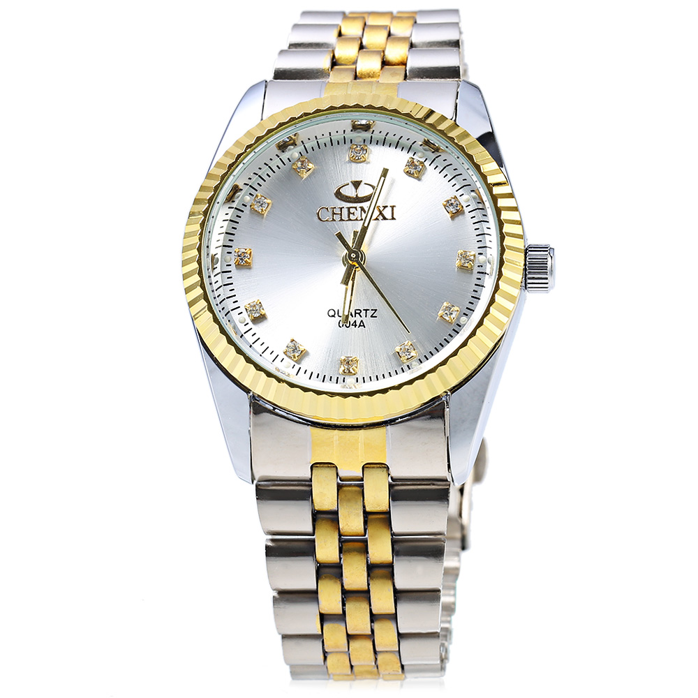 Chenxi 004A Japan Quartz Watch Stainless Steel Strap Water Resistant Diamond Scale for Men