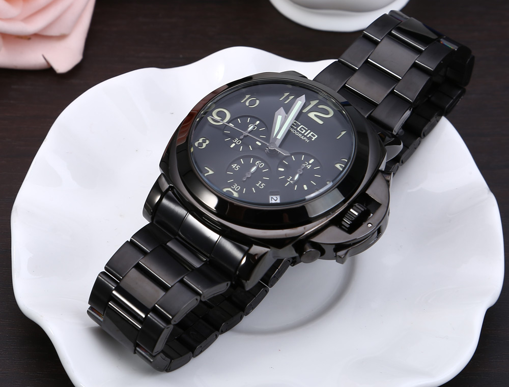 MEGIR M3406 Male Quartz Watch Mutilfunctional Military Leather Band Wristwatch