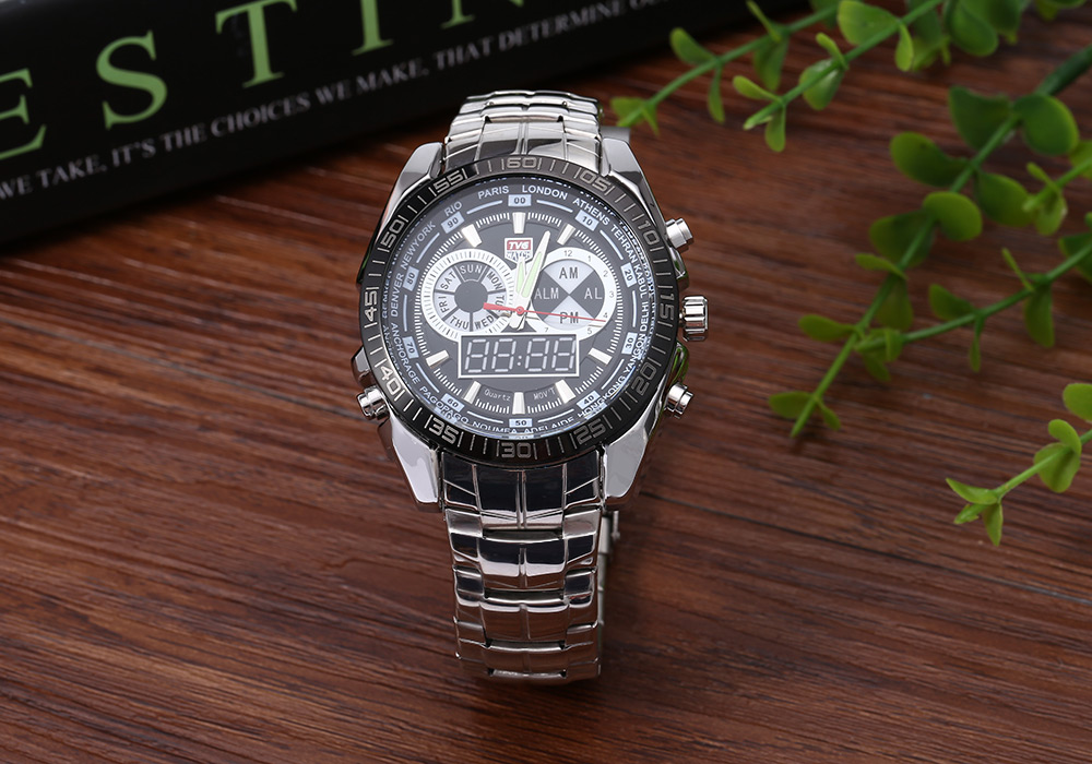 TVG KM-468 Seal Elite Military Sports Watch Dual Movement Digial LED Anolog Display Quartz Wristwatch