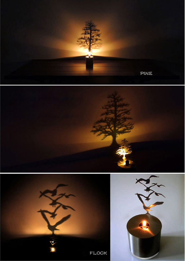 Creative Pine Shadow Projection LED Lamp Romantic Atmosphere Candle Decor Light