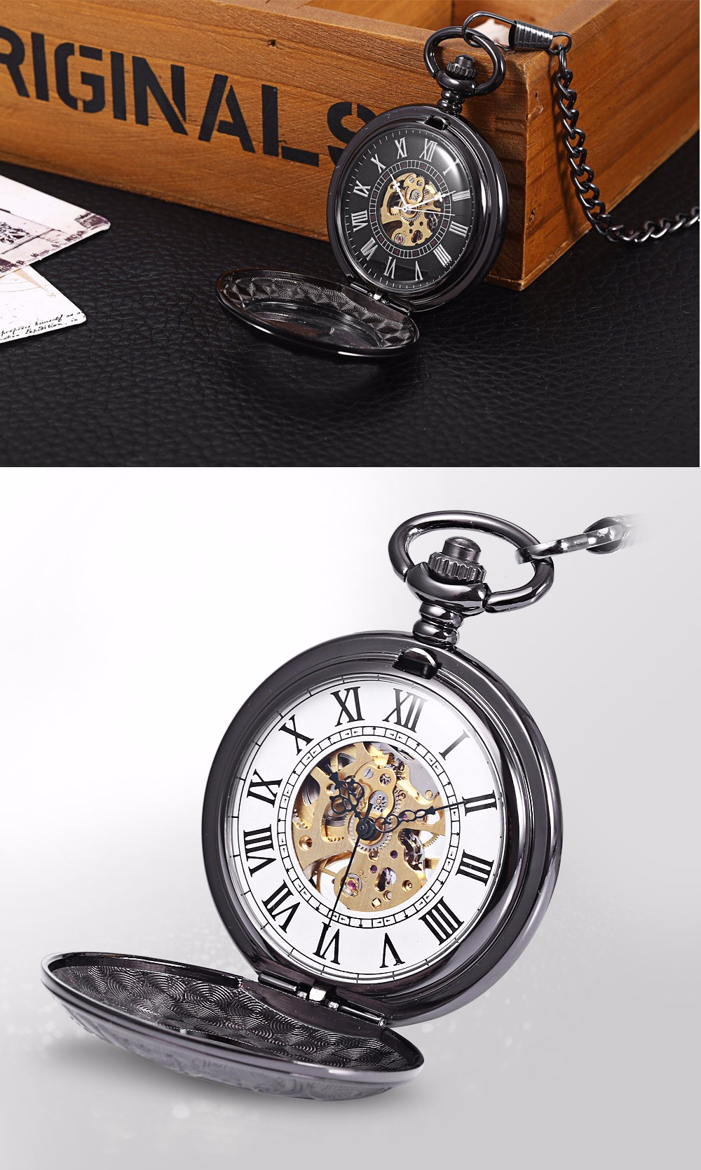 Round Shape Style Roman Numbers Indicate Vintage Mechanical Flip Pocket Watch