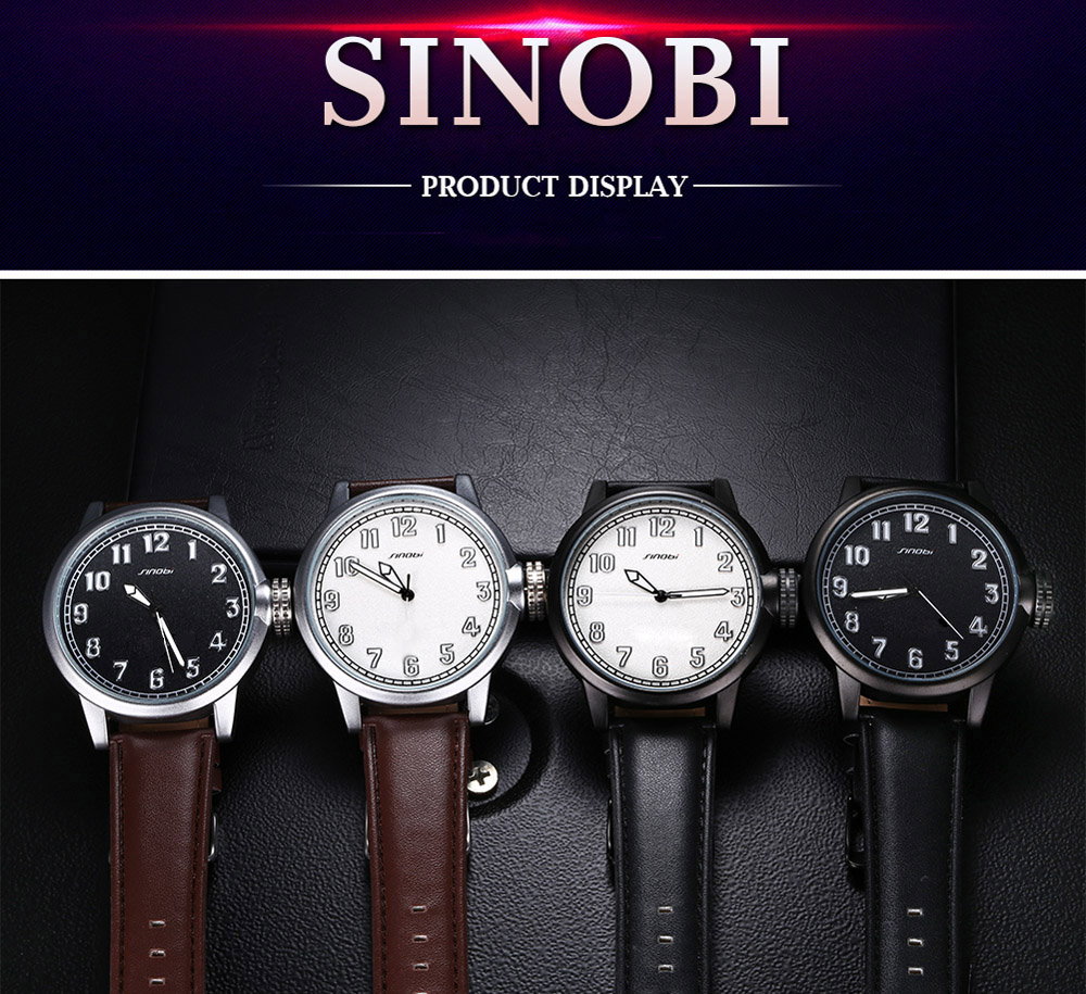SINOBI Fashion Frosted Surface Dial Quartz Watch for Men