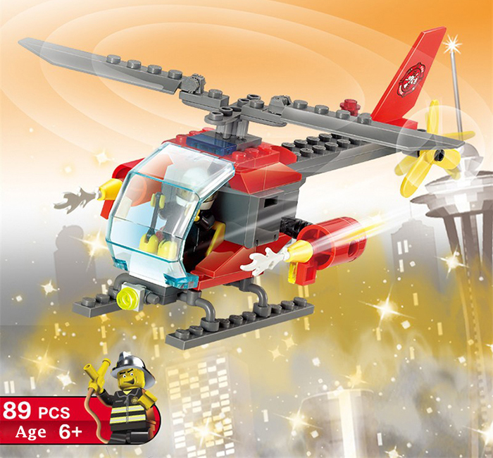 LOZ ABS 89pcs Firefighter Helicopter Building Block DIY Model for Kids