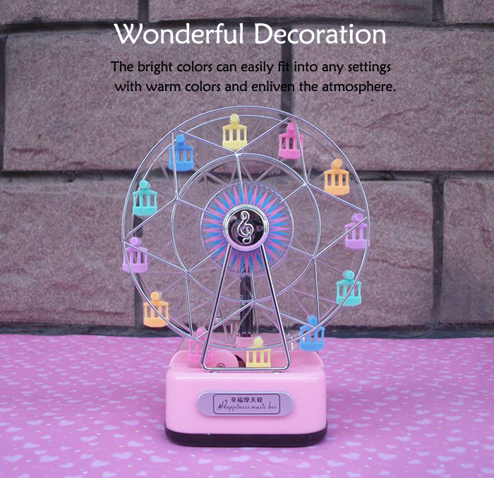 Colorful Ferris Wheel Music Box with Lighting Effect Romantic Birthday Gift for Girls