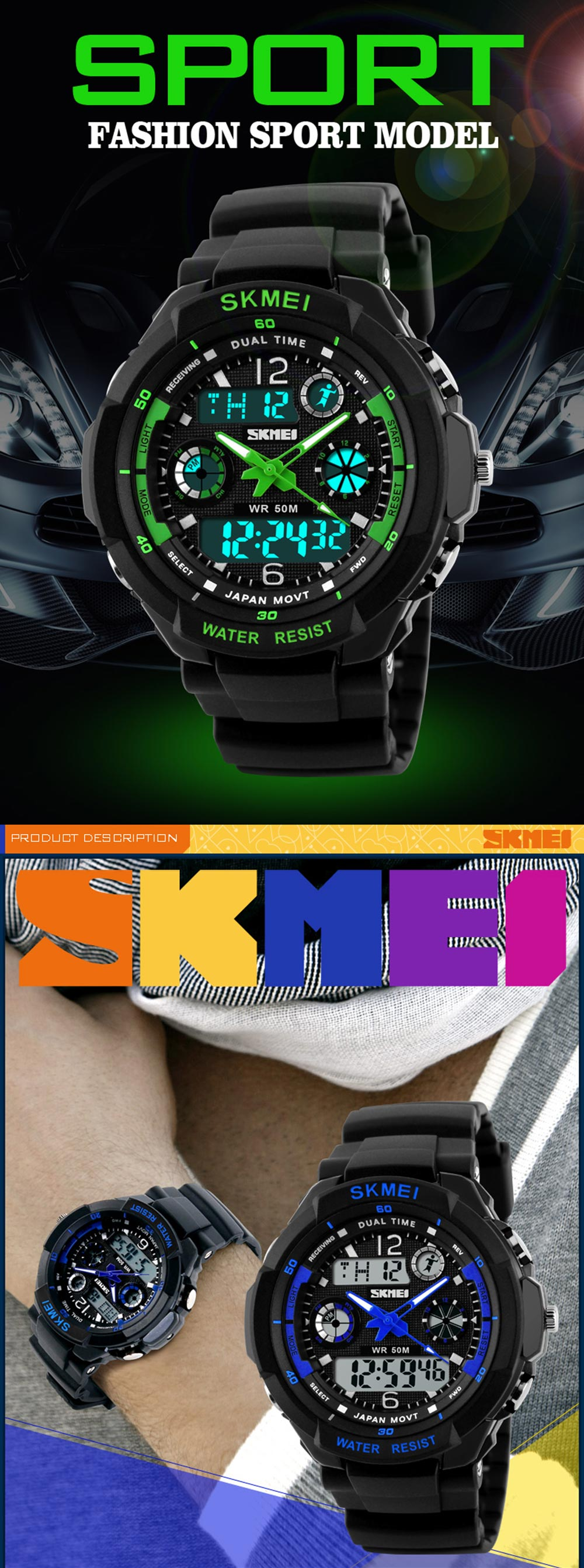 Skmei 0931 Green LED Military Watch with 2 Time Zone Chronograph Double Movts and Round Dial