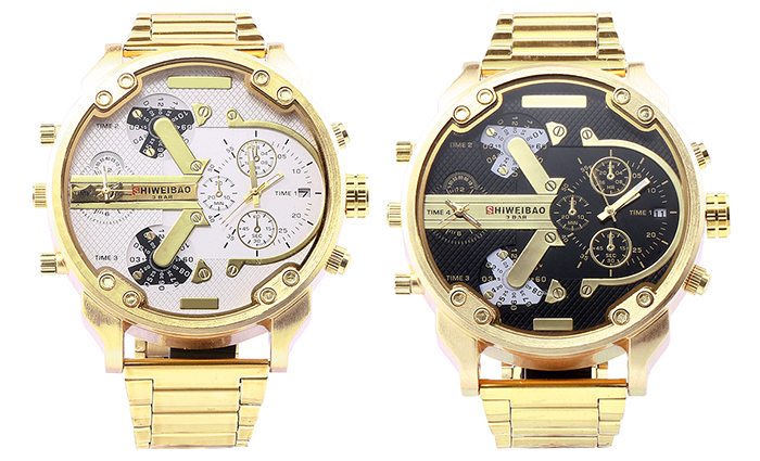 Shiweibao A3137 Double Movt Date Function Male Quartz Watch