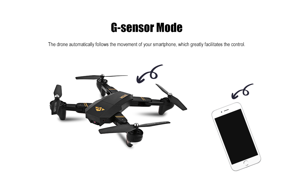 TIANQU XS809W Foldable RC Quadcopter RTF WiFi FPV 0.3MP Camera / G-sensor Mode / One Key Return