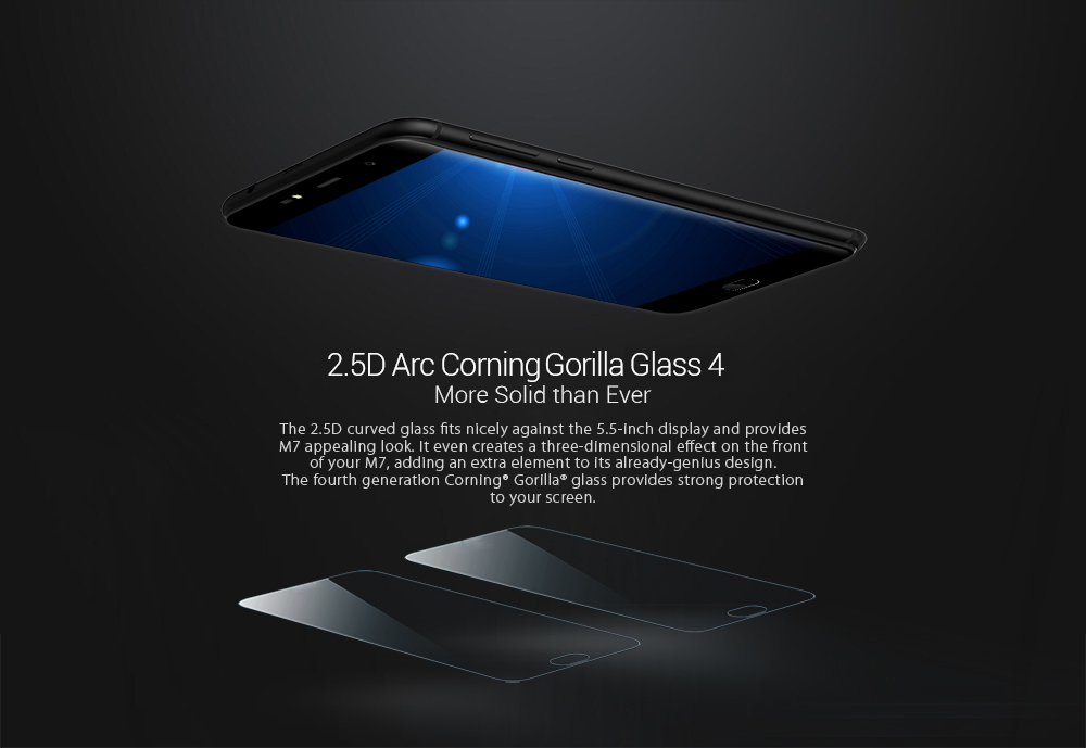 Leagoo M7 3G Phablet 5.5 inch 2.5D Arc Screen Android 7.0 MTK6580A Quad Core 1.3GHz 1GB RAM 16GB ROM Dual Rear Cameras Front Fingerprint Scanner