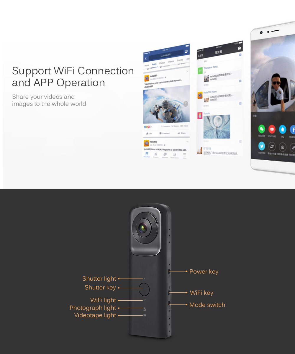 360 Panorama WiFi Action Camera Dual Lens 1080P