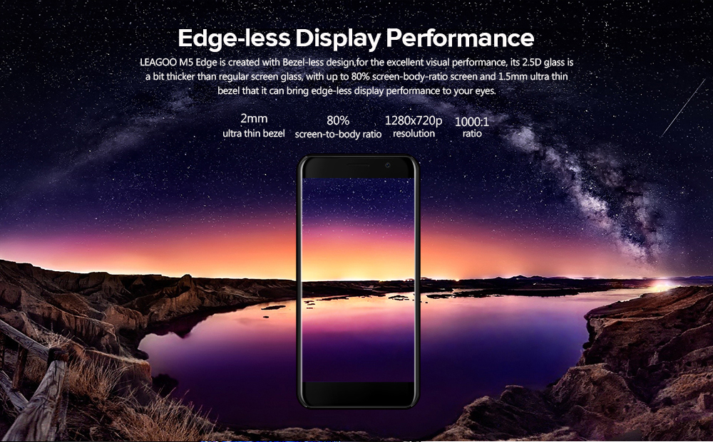 Leagoo M5 Edge 4G Smartphone 5.0 inch Android 6.0 MTK6737 Quad Core 1.3GHz 2GB RAM 16GB ROM 8.0MP Front Camera Fingerprint Scanner Metal Frame