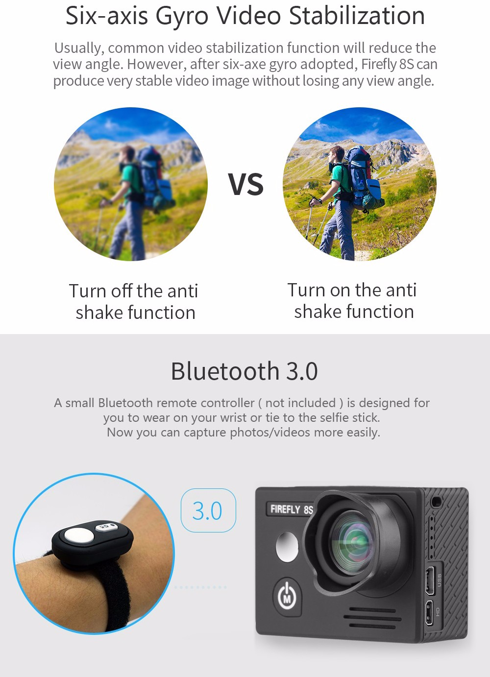HawKeye Firefly 8S 4K Bluetooth WiFi Action Sports Camera with 170 Degree FOV / Ambarella A12S75 Chipset