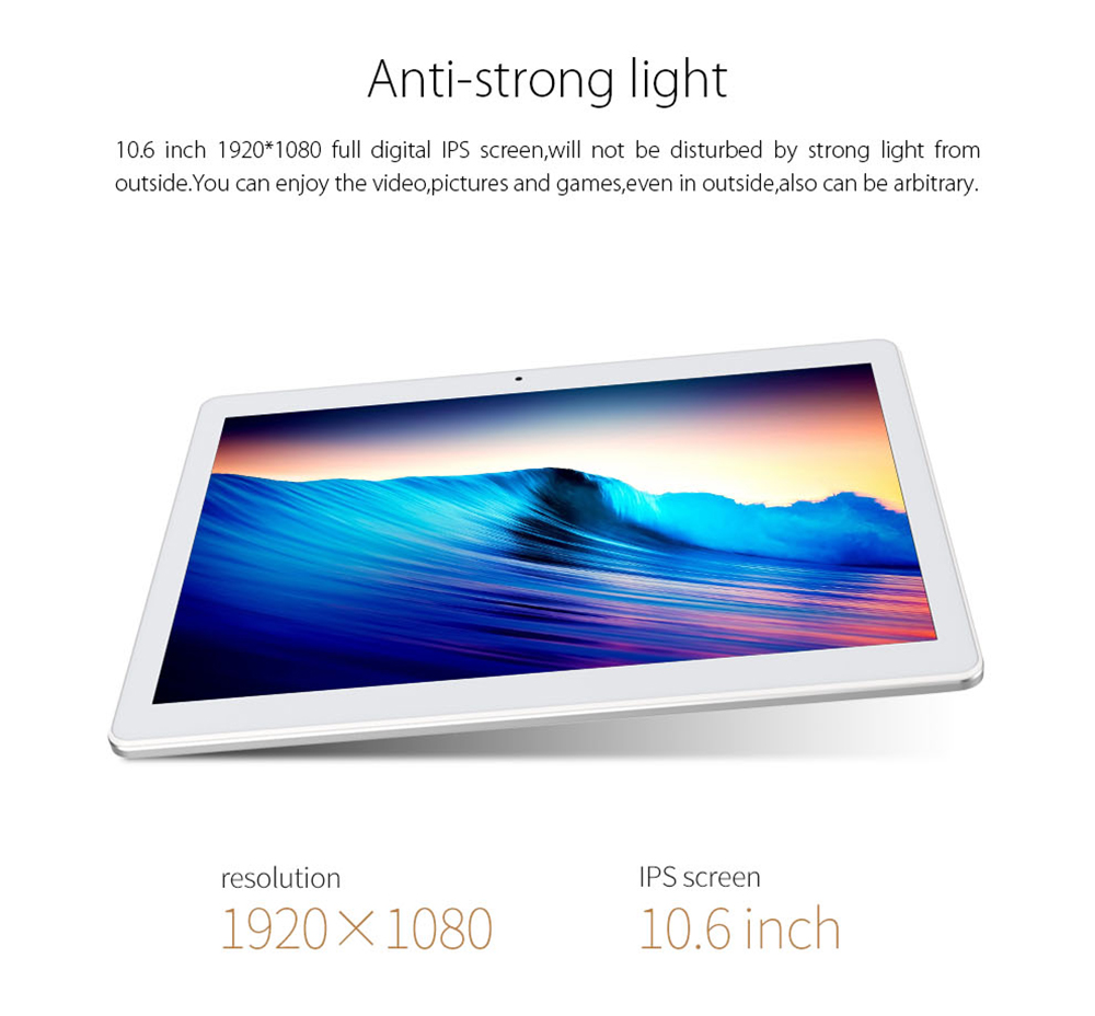 Cube iPlay 10 Tablet PC 10.6 pouces Android 6.0 MTK8163 Quad Core 1.3GHz 2 Go RAM 32 Go ROM Dual WiFi HDMI OTG