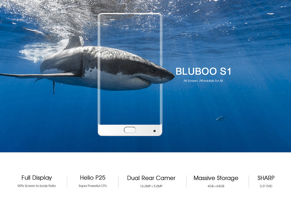 Bluboo S1 4G Phablet 5.5 inch Android 7.0 MTK6757 Octa Core 2.5GHz 4GB RAM 64GB 13.0MP + 3.0MP Rear Cameras Fingerprint Sensor