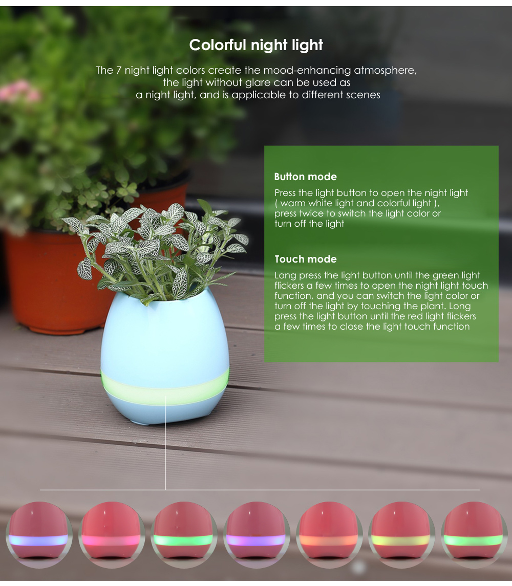 Smart Mini Wireless Music Flowerpot Touch Plant Piano LED Colorful Lamp Bluetooth Speaker
