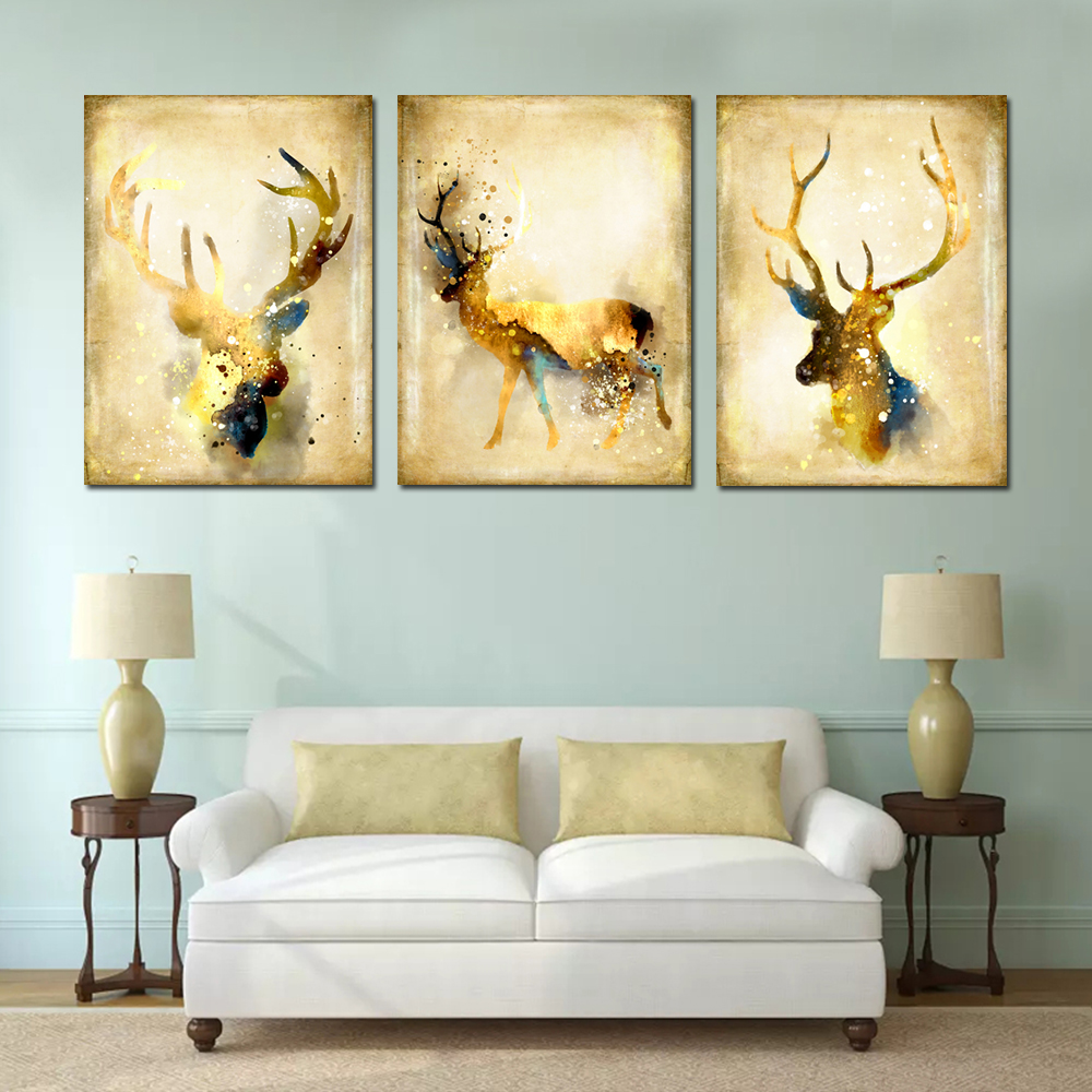 Simple Abstract Animal Wall Art Elk Canvas Painting 3PCS - Colormix ...