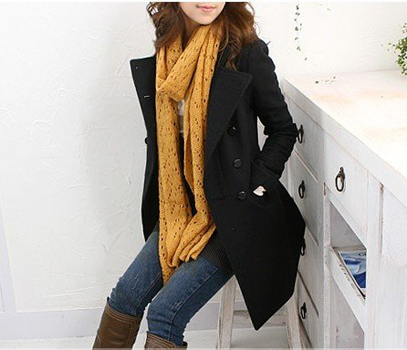 Korean Fashion Style Stand Collar Dust Coat For Female (Long Style)
