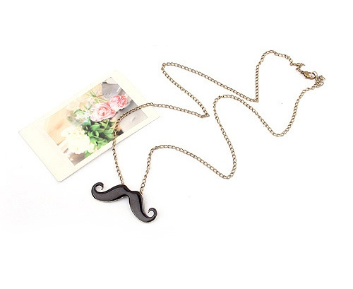 Mix Match Rhinestone Embellished Mustache Shape Pendant Alloy Femmes Sweater Chain Collier