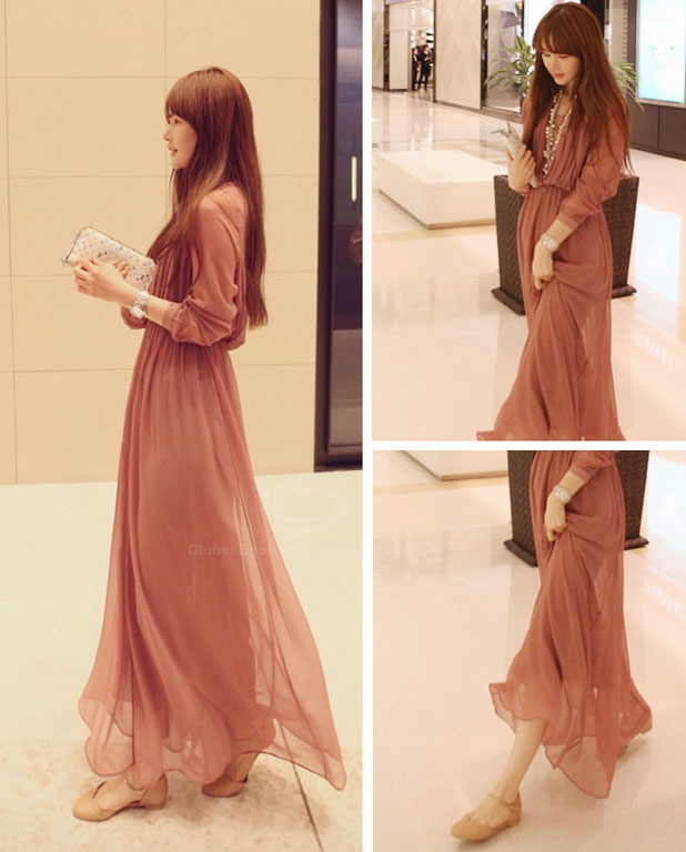 Stylish V-Neck Long Sleeve Chiffon Maxi Dress for Women in Red M ...