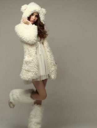 Cute Bear Ear Design Hooded Long Sleeves Women's White Faux Fleece Coat
