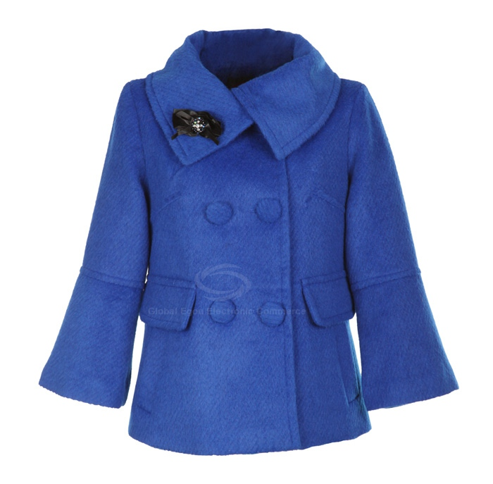 Stylish Polo Neck Double Breasted Long Sleeves Solid Color Flare Cuff Woolen Blend Women's Coat