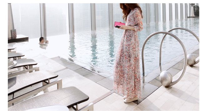 Bohemian Style Round Collar Tiny Floral Print Long Sleeve Chiffon Women's Spring Dress