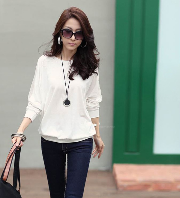 Casual Off Shoulder Solid Color Batwing Coton Blend T-shirt Femme