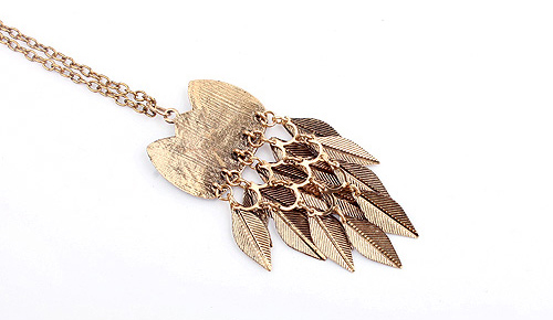 Faux Gem Owl Feather Pendant Necklace