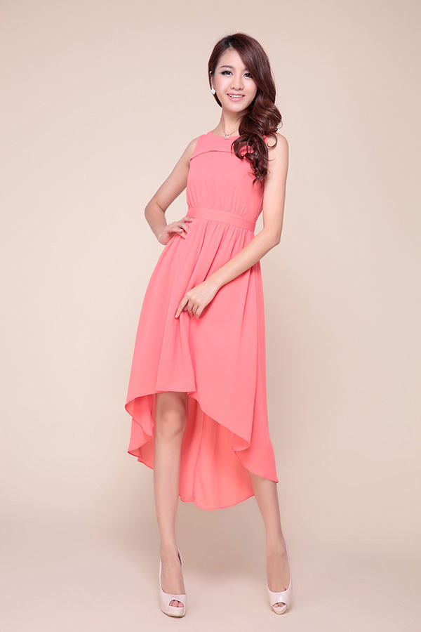 High Low Hem Chiffon Bridesmaid Dress