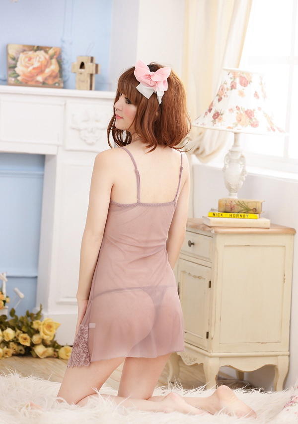 V-Neck Spaghetti Strap See-Through Sexy Style Lace Splicing Lycra Robe de nuit pour femme