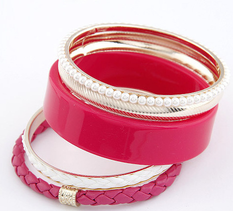 5PCS of Faux Pearl and Leather Design Bangle Bracelets