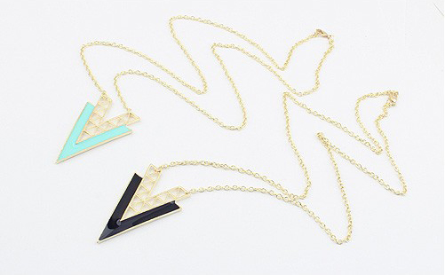 Fashion Colored Glazed V Shaped Pendant Alloy Sweater Chain Necklace For Women