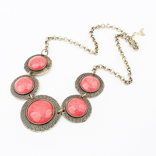 Exaggerated Hot Sale Colored Gem Embellished Round Shape Necklace For Women